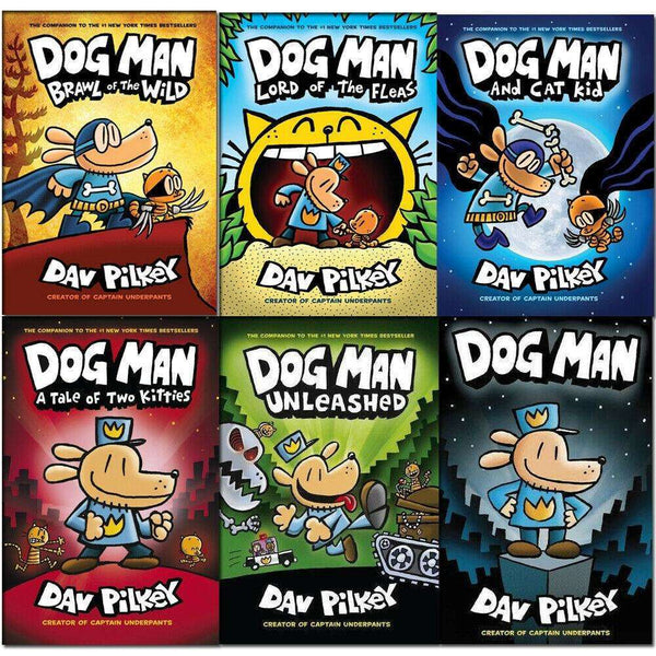 Dav Pilkey Dog Man Collection 6 Books Set Tale of Two Kitties, Lord of the Fleas