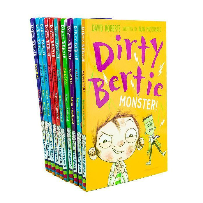 Dirty Bertie Collection 10 Books Set (Series 3) By David Roberts Disco, Monster