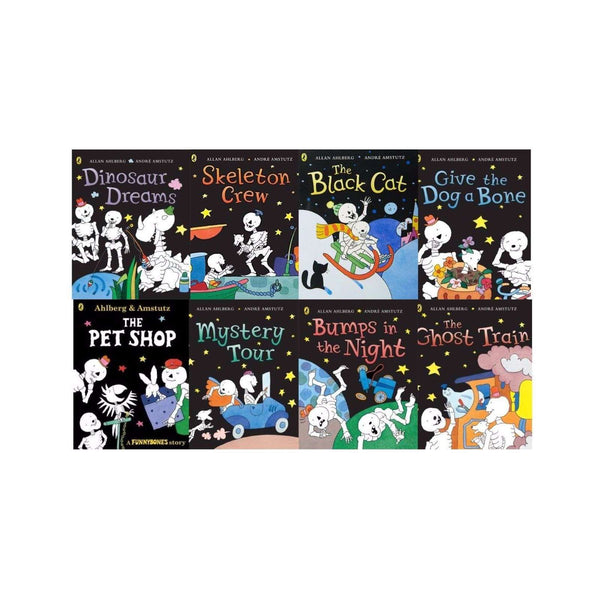 Funny Bones Collection By Allan Ahlberg 8 Books Set Ghost Train, Skeleton Funny bones