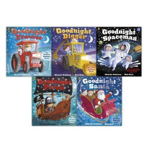 Goodnight 5 Book Set Collection Michelle Robinson + Nick East, Santa, Pirate, Digger