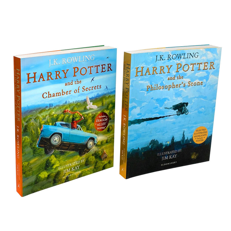 Harry Potter Illustrated 2 Books Set By J.K. Rowling Chamber of Secrets, Philoso