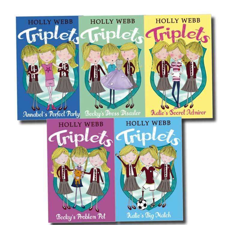 Holly Webb Triplets 5 Books Set Collection Katie's Big Match, Katie's Secret.