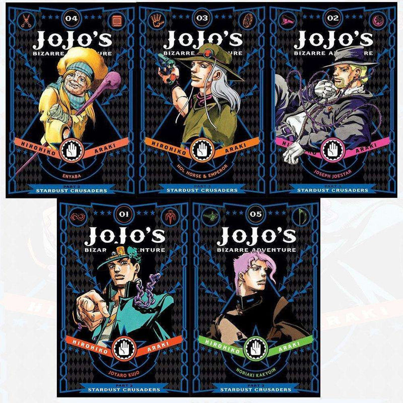 Jojo's Bizarre Adventure Series 3 Collection 1-5 Books Set Pack By Horihiko Araki