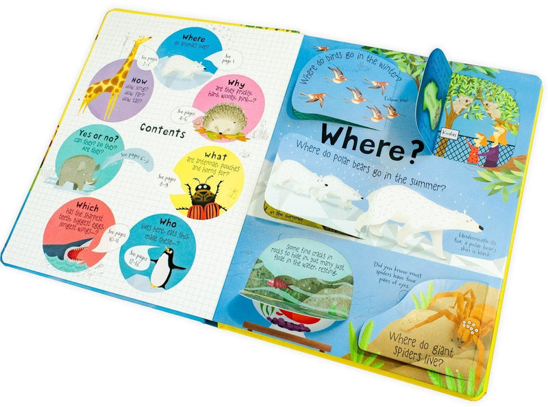 Usborne Lift the flap Questions and Answers 5 Books Box Set Collection Animals Body
