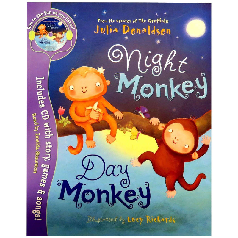 Night Monkey Day Monkey Paperback Including CD with story,games & songs