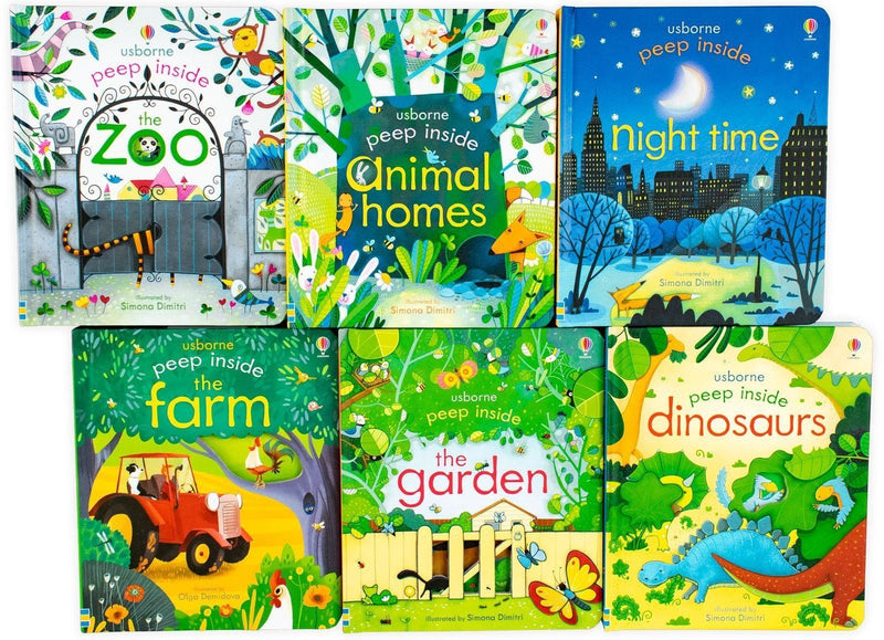 Usborne Peep Inside 6 book set Collection Box Children Set Dinosaurs Farm