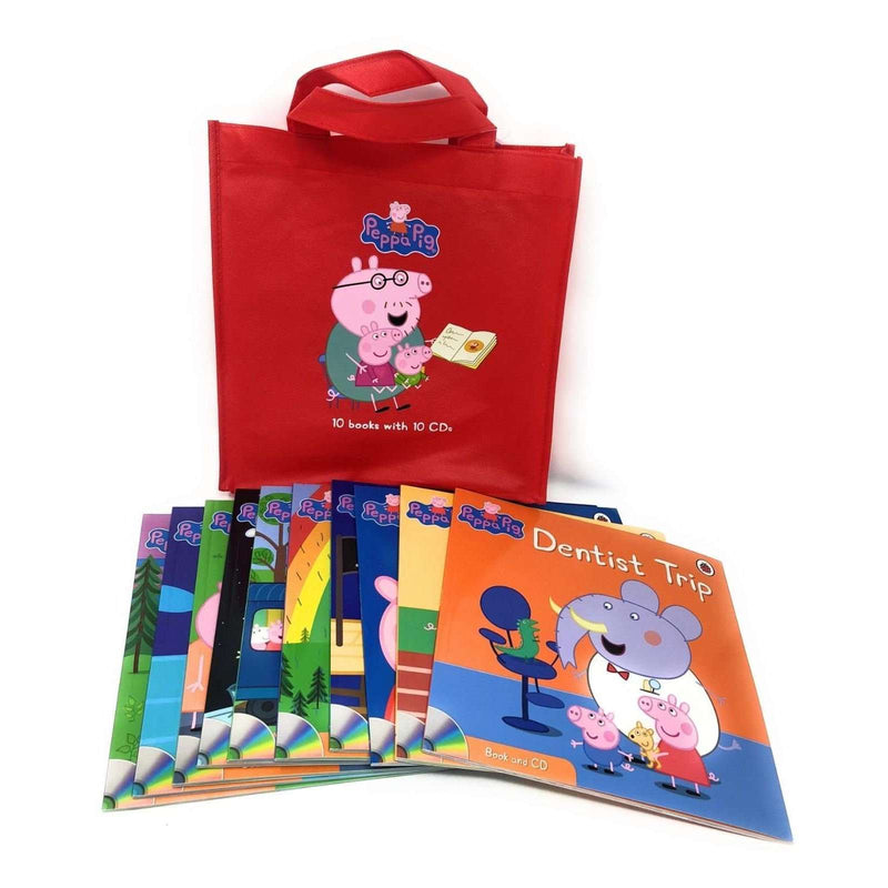 Peppa Pig 10 Books Set With 10 Audio CD In A Bag, Dentist Trip, Sports Day