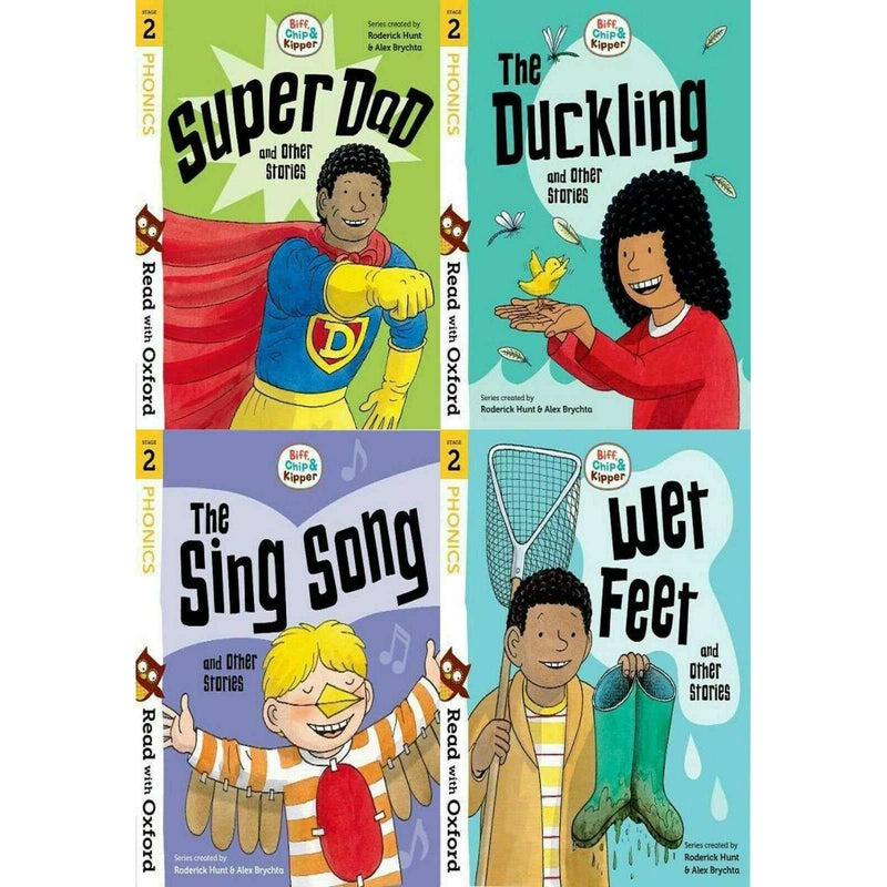 Read with Oxford Stage 2: Biff, Chip and Kipper 4 Books Collection Set Super Dad