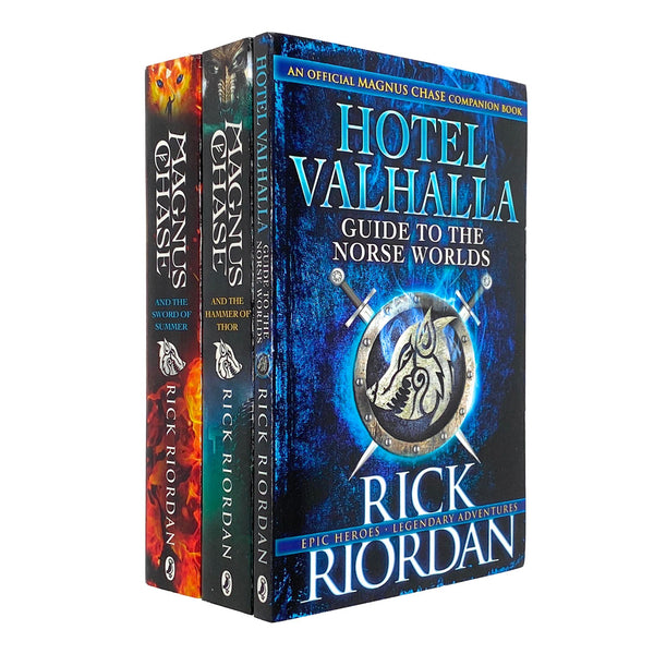 Magnus Chase 3 Books Set Collection By Rick Riordan Inc Hotel Valhalla, Hammer of Thor