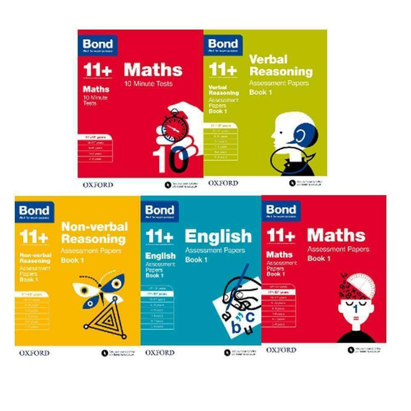 Bond 11+ English & Maths 5 Books Set Ages 11-12+ Assessment and Tests