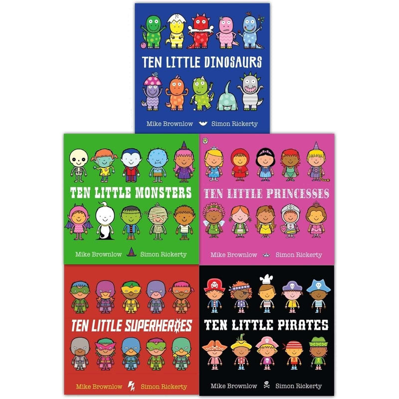 Ten Little Series Collection 5 Books Set Superheroes, Dinosaurs, Monsters, Pirat