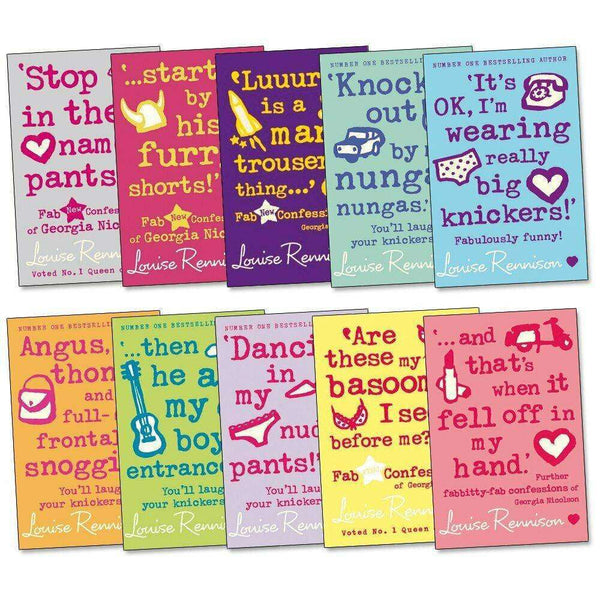 The Fab Confessions of Georgia Nicolson 10 Books Set Collection Louise Rennison