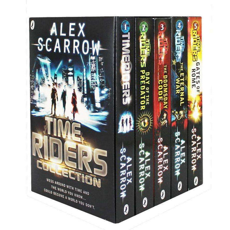 Time Riders Collection Alex Scarrow 5 Books Set Day of Predator, Doomsday Code