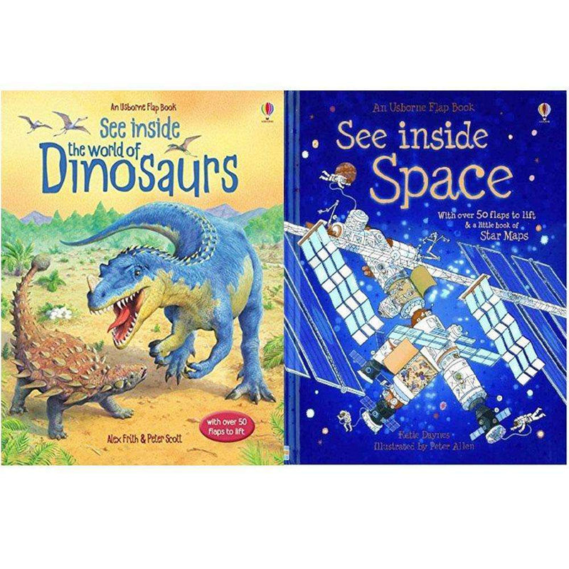 Usborne Flap Book, See Inside Collection 2 Books Set (The World of Dinosaurs, See Inside Space)