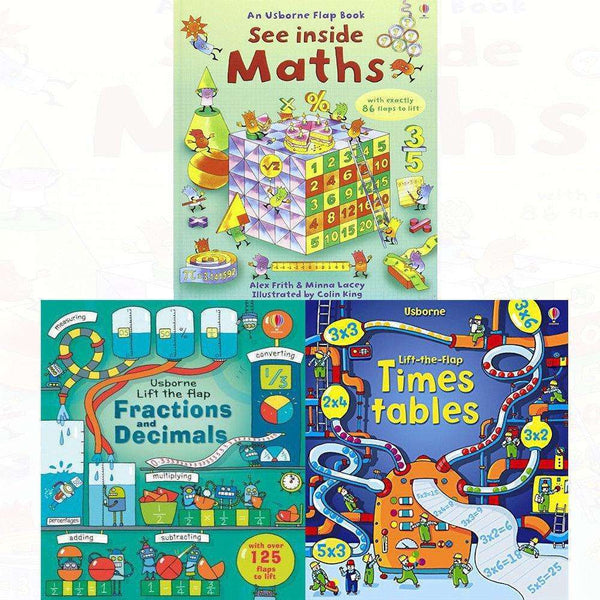 Usborne Lift The Flap 3 Books Set Collection, Maths, Fractions And Decimals