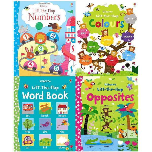 Usborne Lift The Flap 4 Books Set - Numbers,colours, opposites, word book