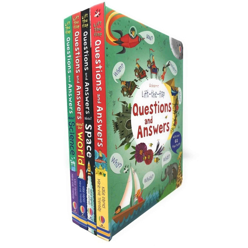 Usborne Lift the Flap Questions and Answer 4 Books Set Collection World, Science
