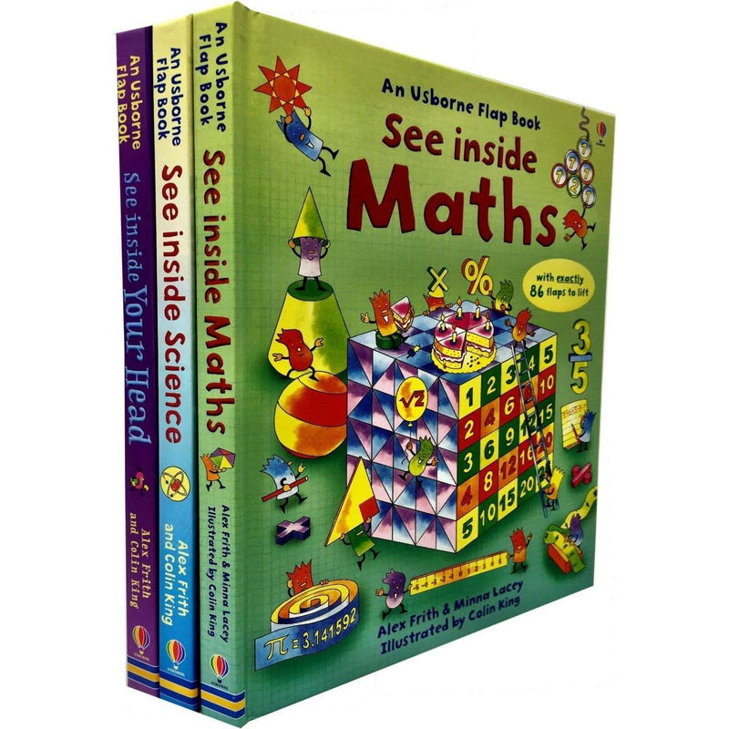 Usborne See Inside Flap Book 3 Books Set Collection Series 2 Maths, Science