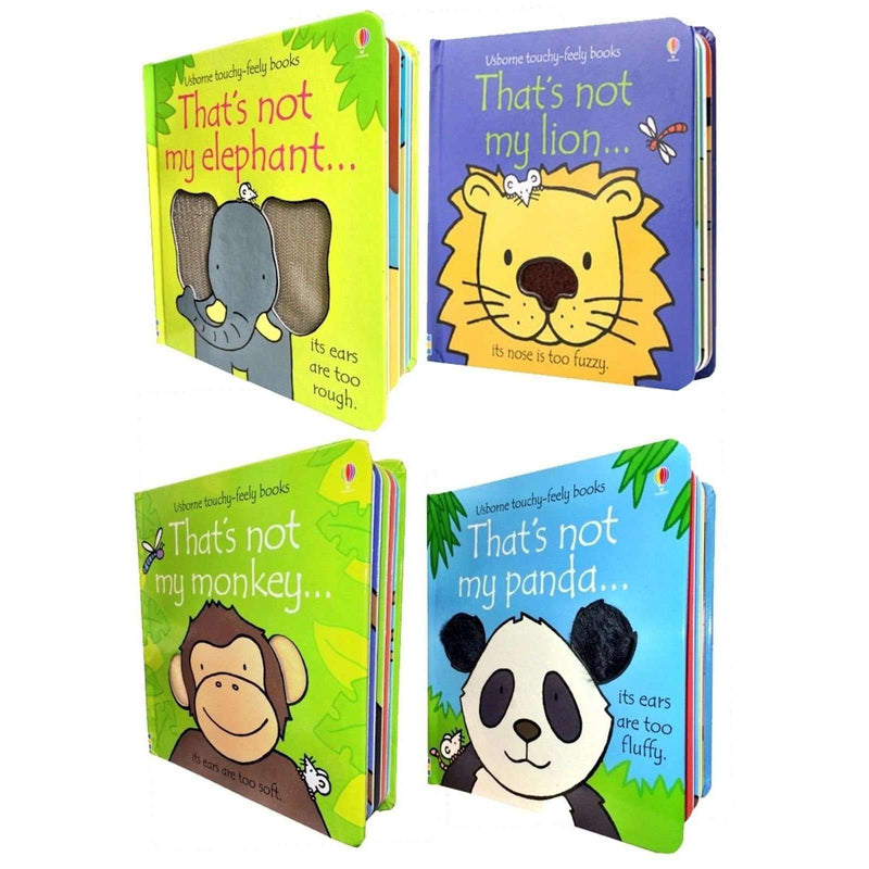 Usborne Touchy Feely Wild Animals Collection 4 Books Boxed Set Thats not my Lion, Panda