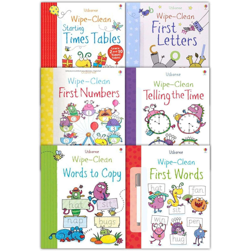 Usborne Wipe and Clean Learn To Write 6 Books Collection Set With Marker Pen Letters
