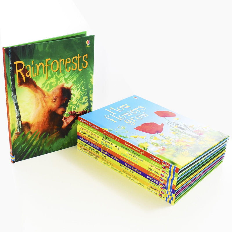 Usborne Beginners Nature 10 Books Box Set Collection (Reptiles, Rainforests,Tre)