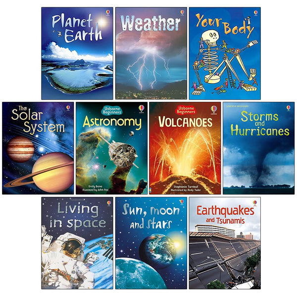 Usborne Beginners Science 10 Books Collection Set Inc Moon and Stars, Living in Space