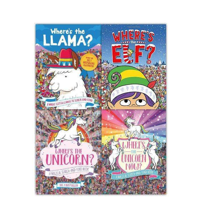 Wheres The Unicorn 4 Book Set Collection Pack Activity Includes Llama