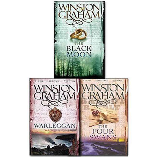 Winston Graham Poldark Series Trilogy Books 4, 5, 6, Collection 3 Books Set (Warleggan, Black Moon, The Four Swans)