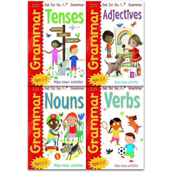Wipe Clean Grammar Collection 4 Books Set Pack Adjectives, Nouns, Verbs, Tenses