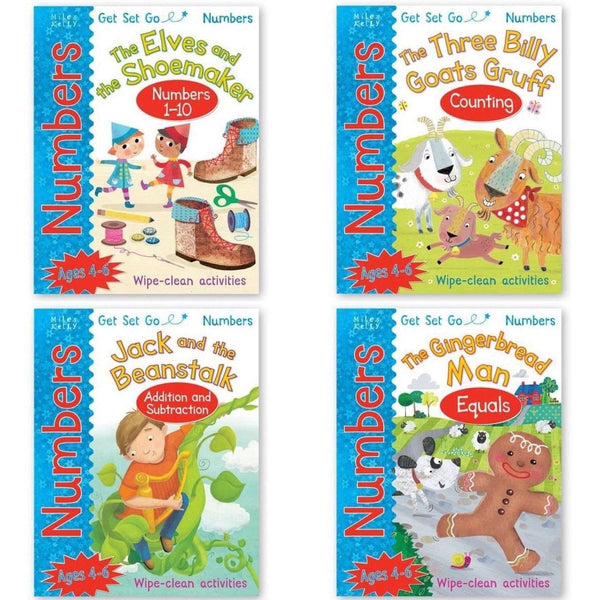 Wipe Clean Numbers Collection 4 Books Set Pack, Three Billy Goats Gruff, Gingerb