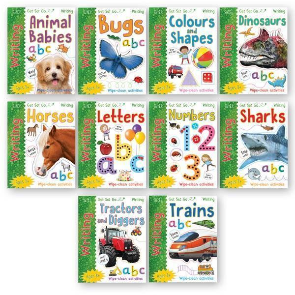 Get Set Go Writing Activity Wipe and Clean 10 Book Set Collection Pack - Ages 3+