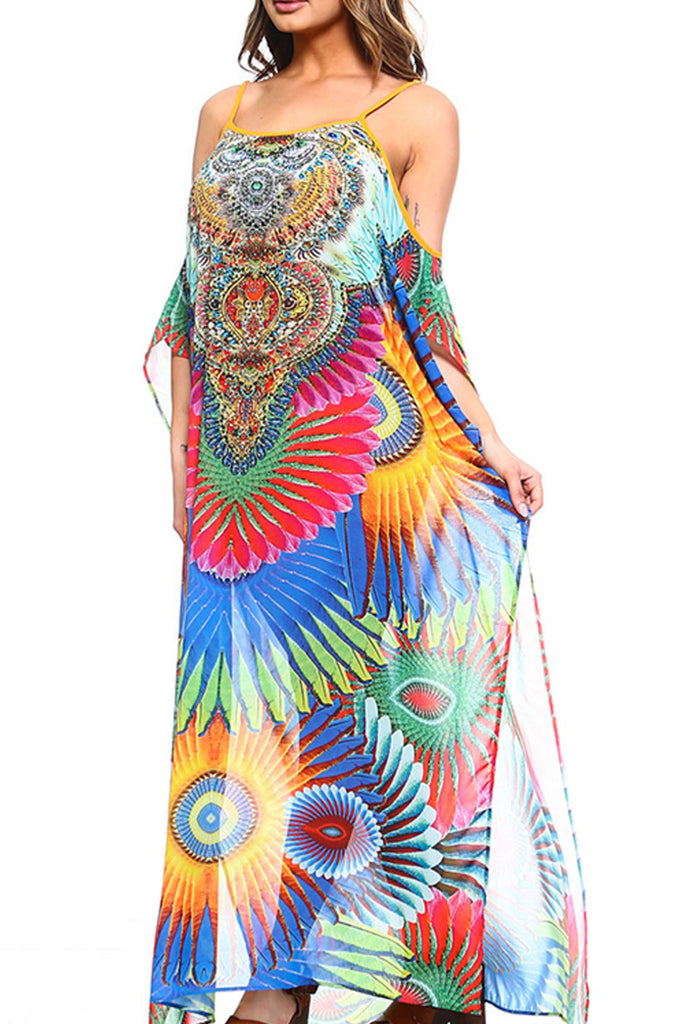 colorful vacation beach cover up