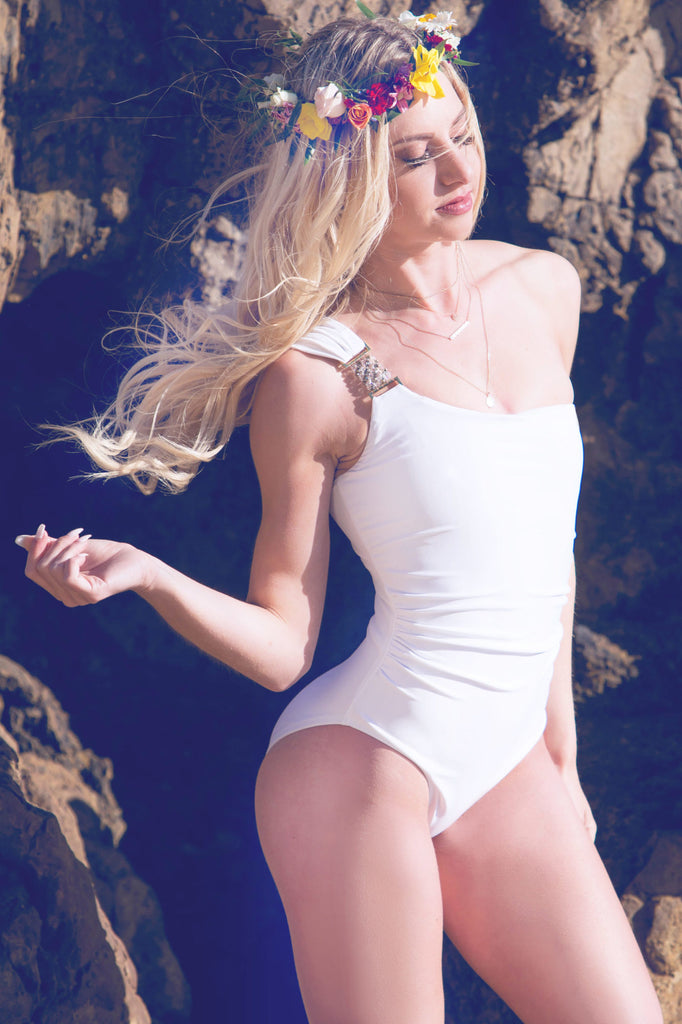 white unique one piece swimsuit
