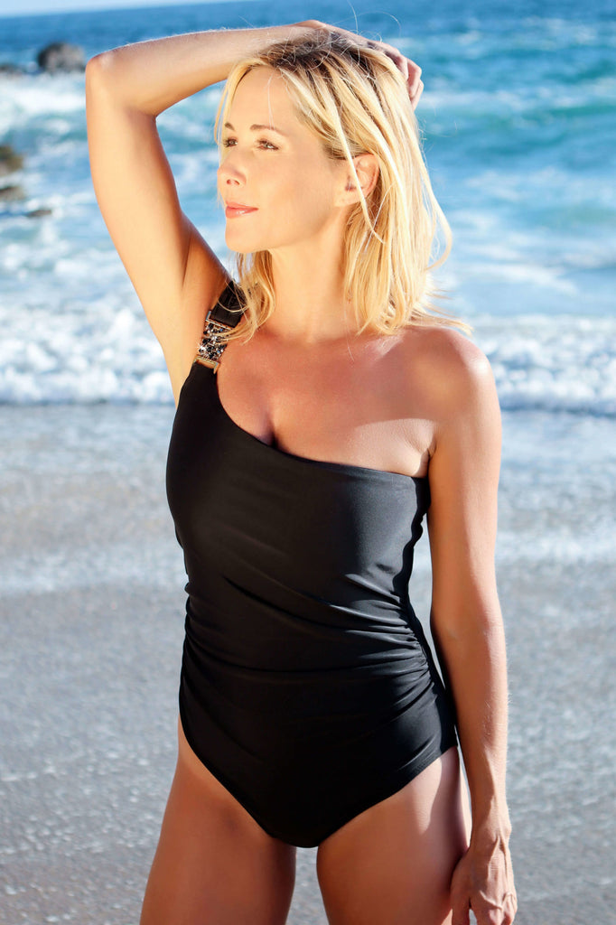 one shoulder black one piece swimsuit