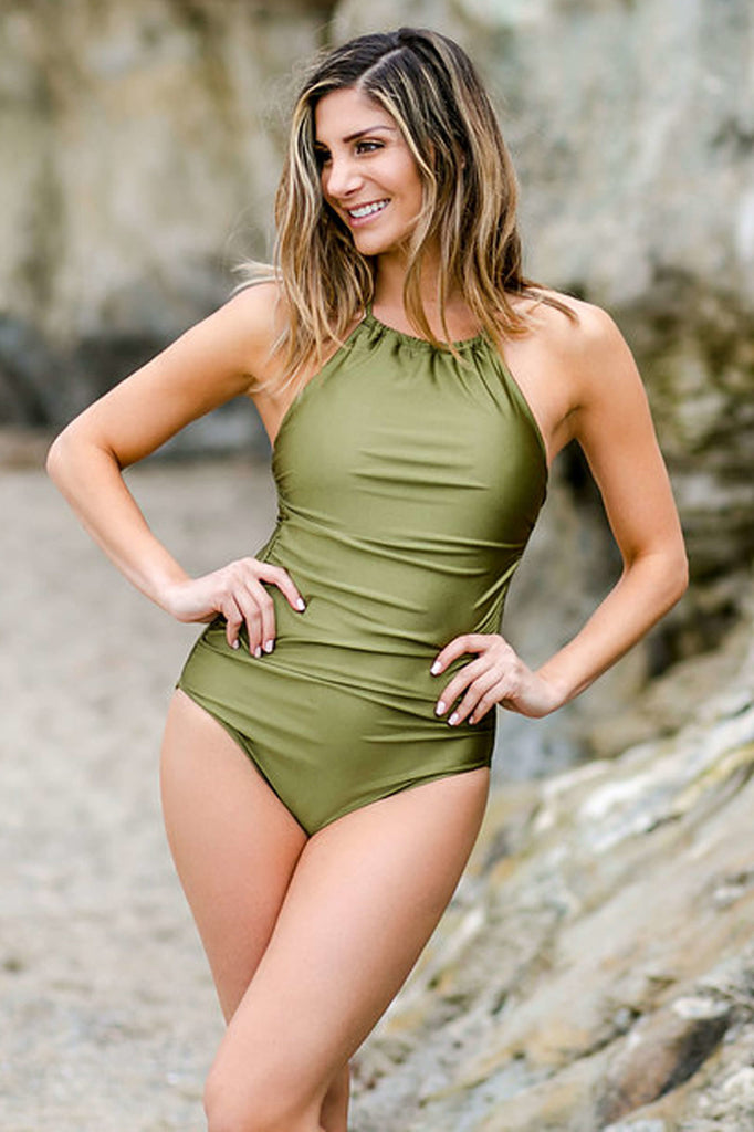 high neck slimming one piece swimsuit