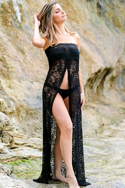 black lace full length cover up