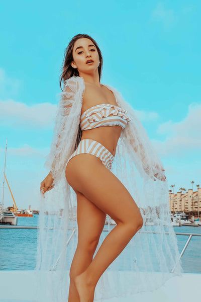 ruffled white bathing suit cover up