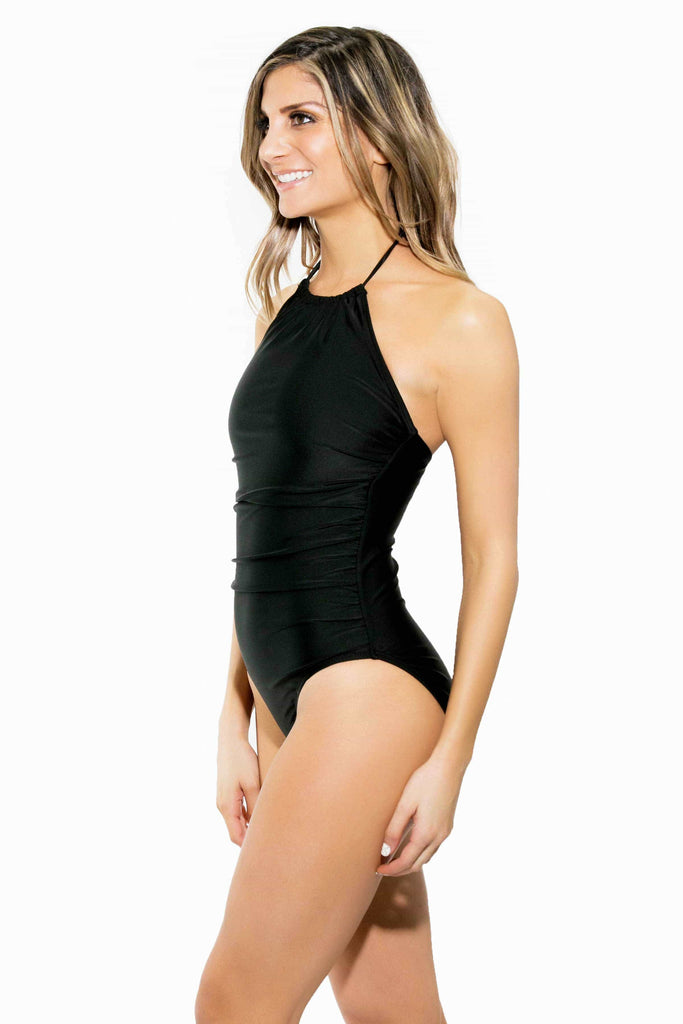 high neck one piece