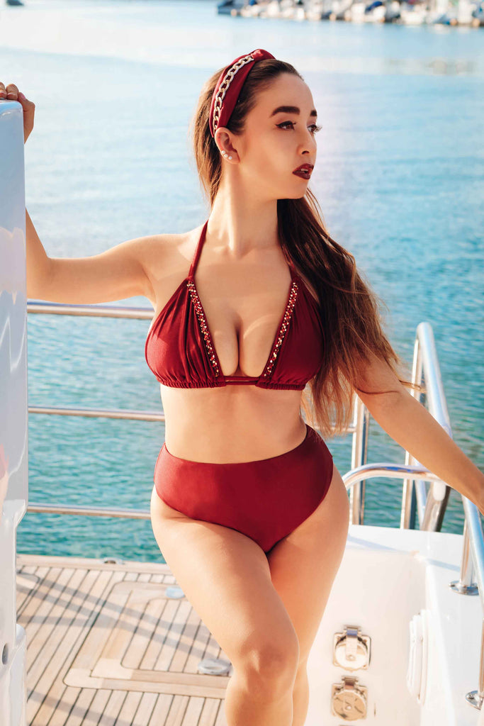 burgundy full coverage bikini bottom