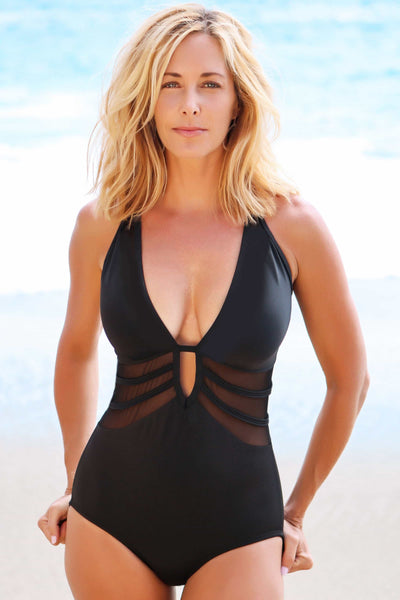 sexy mesh cut out swimsuit