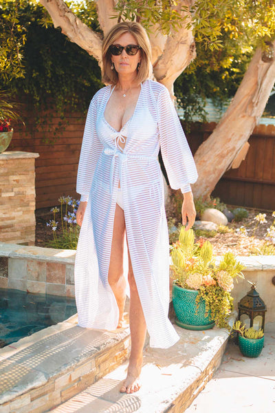 long mesh beach cover up
