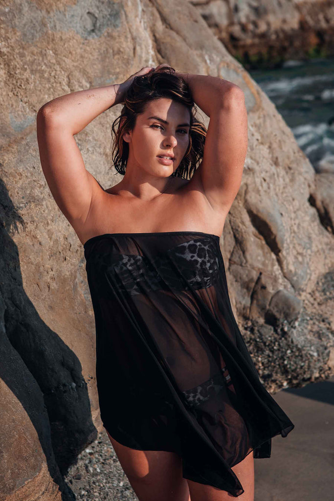 black strapless beach cover up