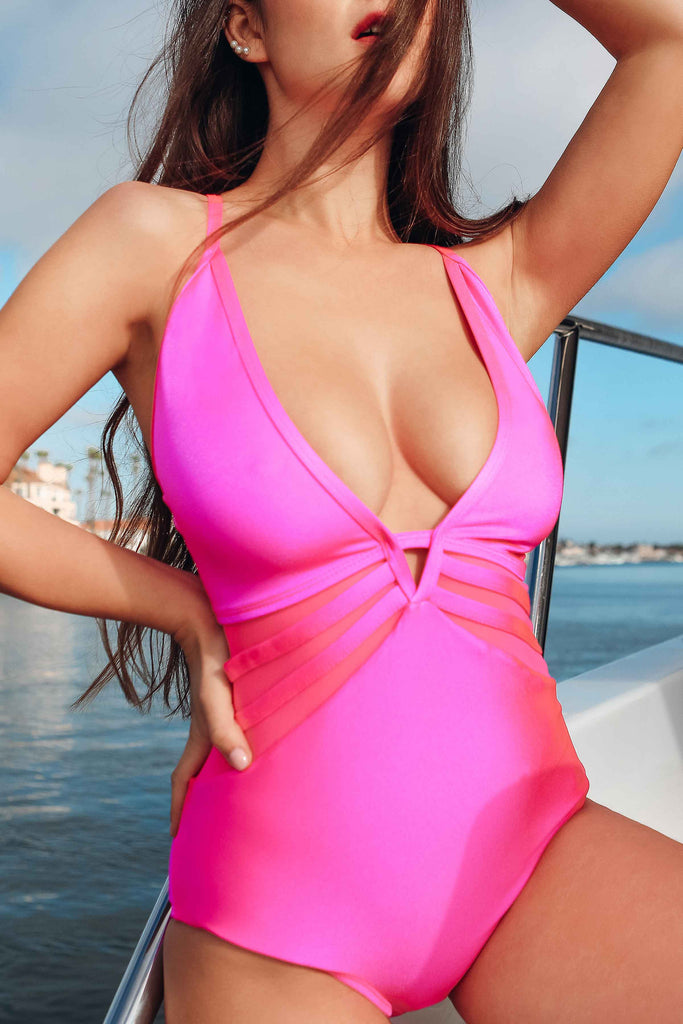 hot pink one piece swimsuit