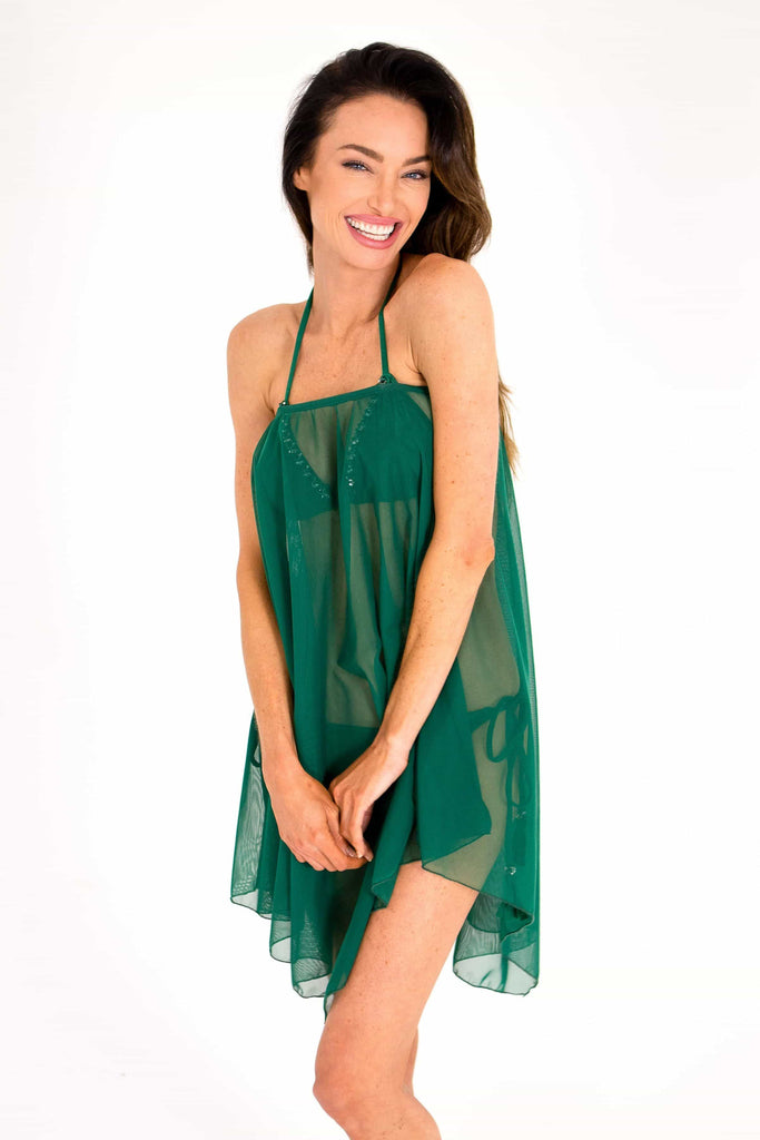 green beach cover up