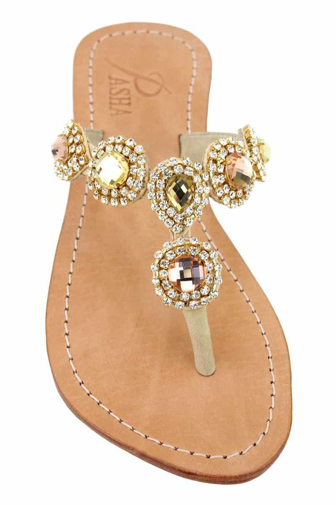 Genuine Crystal Leather Sandals
