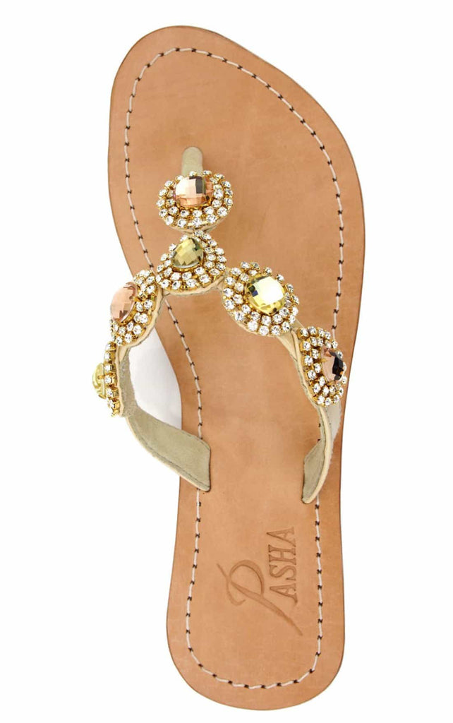 Unique Gold Jeweled Sandals