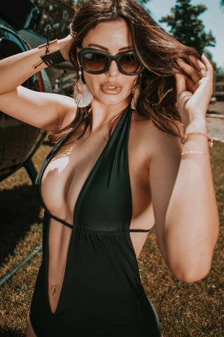 sexy plunge monokini bathing suit