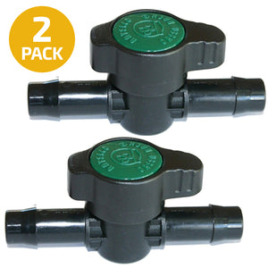 Habitech 2-Pack Inline Barbed Ball Valve 13mm for 1/2 Inch Tubing .520 ID