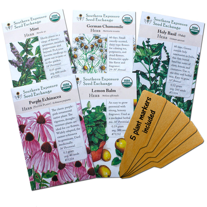 Herbal Tea Garden Organic Seeds Kit - Chamomile, Mint, Holy Basil, Echinacea, Lemon Balm