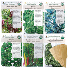 Load image into Gallery viewer, Leafy Greens Organic Seeds Variety Pack - Wild Lettuce, Romaine, Spinach, Kale, Arugula, Chard